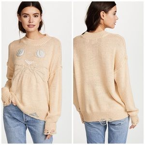 NWT Wildfox Whiskers Cat Alpaca Destroyed Sweater